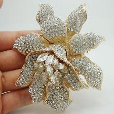 Bride Fashion Orchid Flower Clear Rhinestones Crystal  Bridesmaid Brooch Pin