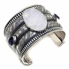 Silver Jewelry Bangle Adst Rainbow Moonstone, Amethyst 925 Sterling