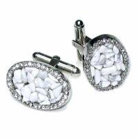 Silver-Tone CuffLinks Elliptic White Stones Mens Cuff Links