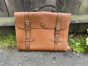 Vtg J Peterman 1928 Aviator Air Corps Brown Tan Leather Briefcase Portfolio Bag
