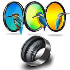 Phot-R 55mm UV + Circular Polarising + Variable ND Filter +  3in1 Lens Hood Kit