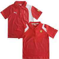 Puma SF Ferrari Kids Boys Red White Short Sleeve Polo Shirts 761279 761479 R13