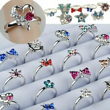 20Pcs Wholesale Lots Mix CZ Crystal Children Kids Silver Plated Adjustable Rings