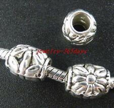 50pcs Tibetan Silver Flower's Tube Spacers 10.5x9mm 855