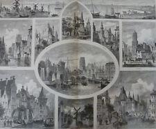 Bilder aus Holland:Drordrecht,Utrecht,Holl,Harlem,Delft,Haag.Holzstich von 1887