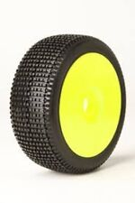 James Racing Y-Zip 1/8 Buggy Tire Pre-Mounted Glued Yellow Dish Rim Wheel Soft