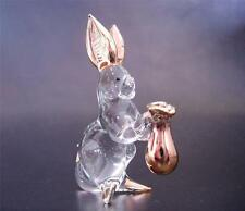 Glass RABBIT BUNNY HARE Clear Glass & Gold Painted Glassware Animal Ornament