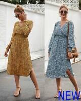 V Neck Dresses Loose Long Sleeve Casual Boho Evening Womens Maxi Dress Floral