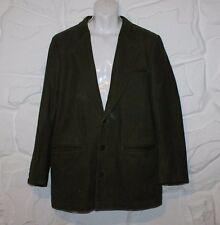 "Vintage Green Leather Button Hip Length Biker Casual Jacket Blazer Chest Sz 42"""