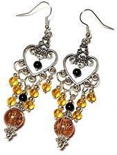 Amber & Black Chandelier Earrings Long Tibetan Silver Style Pierced Hooks Glass