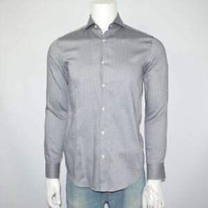 HUGO BOSS Slim Fit Dwayne Herringbone Cotton Gray Dress Shirt 15 34/35