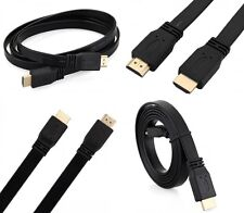 1.5M Premium Flat HDMI Cable v1.4 High Speed 1080P Gold Full HD 3D TV Lead BLACK