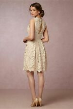 BHLDN Kinsley Dress Fit-N-Flare Lace Scalloped Hem Creme Wedding Formal Sz 4