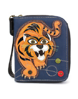 NEW CHALA NAVY BLUE TIGER ZIPPERED BI-FOLD WALLET FAUX LEATHER