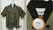 Happy Chef Lightweight Chef Coat #505 Xs Olive & Black
