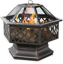 UniFlame Hex Shaped Outdoor Fire Bowl with Lattice, Oil Rubbed Bronze Steel