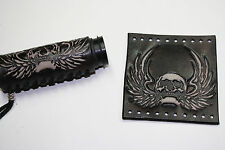 Custom Heavy Duty Detailed Black Leather Motorcycle Grip Covers w/Winged Skull