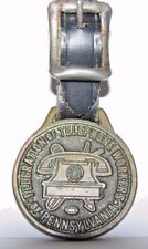VINTAGE Federation of Telephone Workers Union PA Brass Pocket Watch Fob Ad