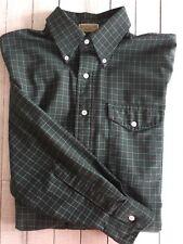 Men's LL Bean LS Button Shirt Made USA Green Red Tan Check 15.5-33