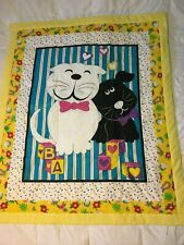 """""""Kitty Puppy Love Quilt"""" Cotton front Flannel back Batting filled approx 44""""x53"""""""