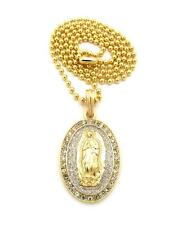Mini Micro Virgin Mother Mary Jesus Piece Pendant Lab Made Chain 14k Gold Finish