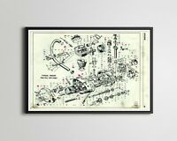 DUCATI Motorcycle Engine POSTER! (Full-size 24x36 or smaller) - 1974 - Vintage