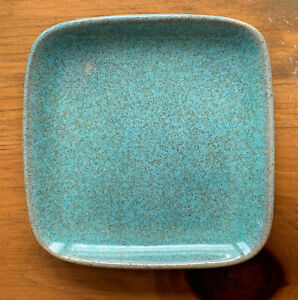 """Vintage GLIDDEN Pottery 4"""" Square Plate Turquoise #19"""