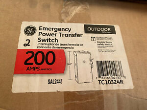 GE 200 AMP MANUAL EMERGENCY POWER TRANSFER SWITCH 240V DOUBLE THROW (TC10324R)2P