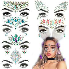 Temporary Tattoo Rhinestone Decor Face Gems Jewels Sticker Festival Rave Party