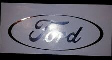 """Chrome Silver Ford Oval New Window Vinyl Decal Sticker 7"""" x 2.75"""""""