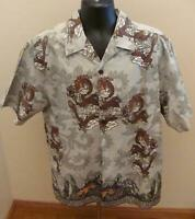 Point Zero Dragon Design Hawaiian Aloha Camp Shirt Medium 100% Cotton