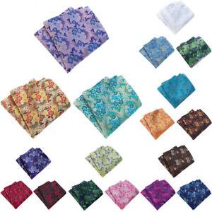 3 Packs Men's Classic Floral Pocket Square Handkerchief Wedding Party Hanky