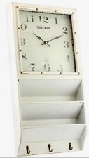 Shabby Chic Vintage Distressed Cream Wall Clock Letter Rack Coat Hooks Hall NEW