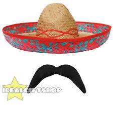 Para hombres mexicano Sombrero & Tash Set Stag Vacaciones Vestido de Fantasía Salvaje Oeste Bandido