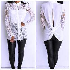 UK Womens Casual Long Sleeve Lace Tops T-Shirt Ladies Embroidery Loose Blouse