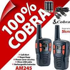 Cobra AM245 2 vías Walkie Talkie Radios 5 km Recargable PMR 446 AM-245 Twin Pack