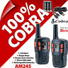 Cobra AM245 2 Way Walkie Talkie Radios 5km Rechargable PMR 446 AM-245 Twin Pack