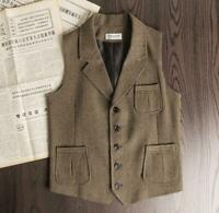 Mens Casual Wool Herringbone Tweed Slim Fit Suit Waistcoat Vest Gilet Vintage