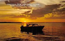 CROSSVILLE TENNESSEE LAKE TANSI VILLAGE~MOTOR BOAT~LAKE SUNSET POSTCARD 1960s