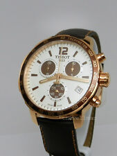 New Mens Authentic Swiss Tissot Rose Gold Quickster Chronograph White Dial Watch
