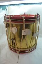 BOOSEY HAWKES VINTAGE MILITARY SNARE DRUM 1930 ROPES BRASS WOOD 15in TALL d