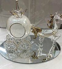 Cinderella Glass Horse Gift And Pumpkin Carriage Set Glittered Crystal White New