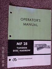 MASSEY-FERGUSON MF28 TANDEM DISC HARROW MANUAL