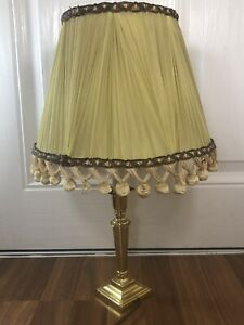 Laura Ashley Brass Vintage Candle Stick table bedside Lamp With Silk Shade