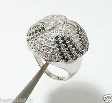 Diamonique Clear Black CZ Umbrella Round Pave Ring Silver QVC Size 9.5