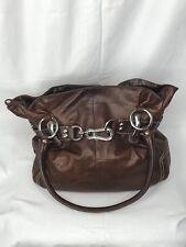 B. Makowsky Chocolate Brown Shoulder Bag Silver Hardware