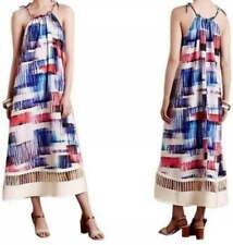 Anthropologie Picket Hem Maxi Sun Dress Small 2 4 Tie Straps Keeps Shape NWT