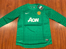 2012-13 Nike Manchester United Youth Home Long Sleeve Soccer Jersey XL Green Boy