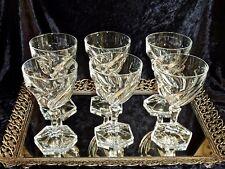 STUNNING CRYSTAL SET OF 6 WINE GLASSES FRANCE C 1930'S