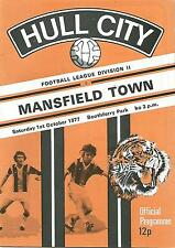 Football Programme - Hull City v Mansfield Town - Div 2 - 1/10/1977